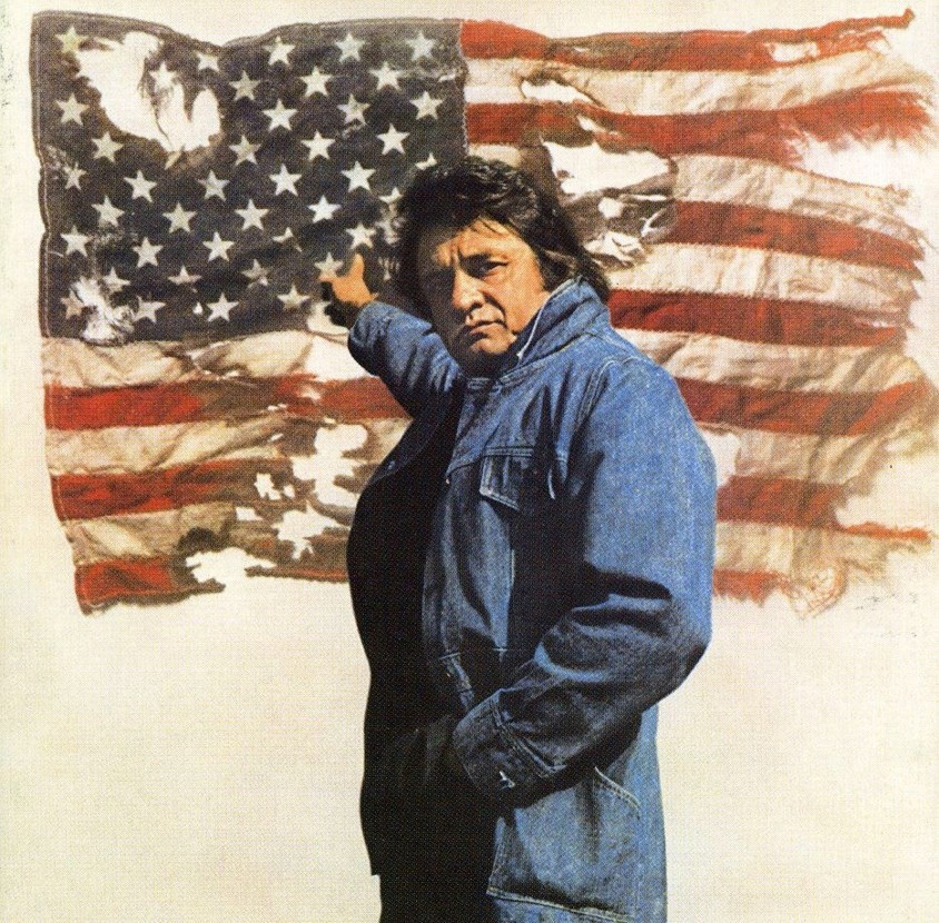 Strictly Country Magazine Johnny Cash with American Flag