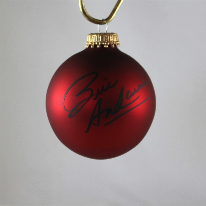 FFF Charities - Bill Anderson - autographed red Christmas ornament #2