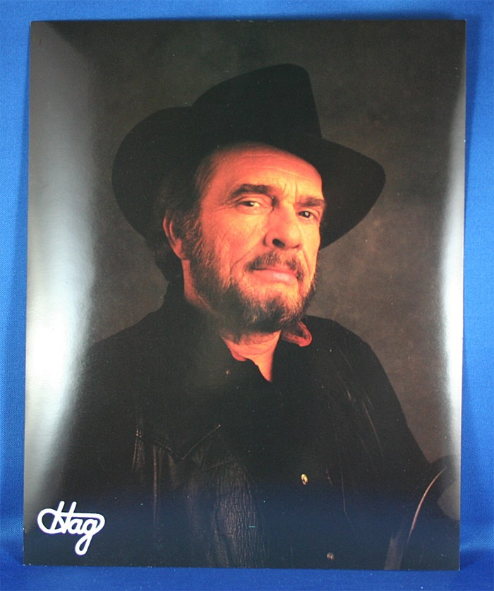 Merle Haggard - 8x10 color photograph black outfit and backdrop