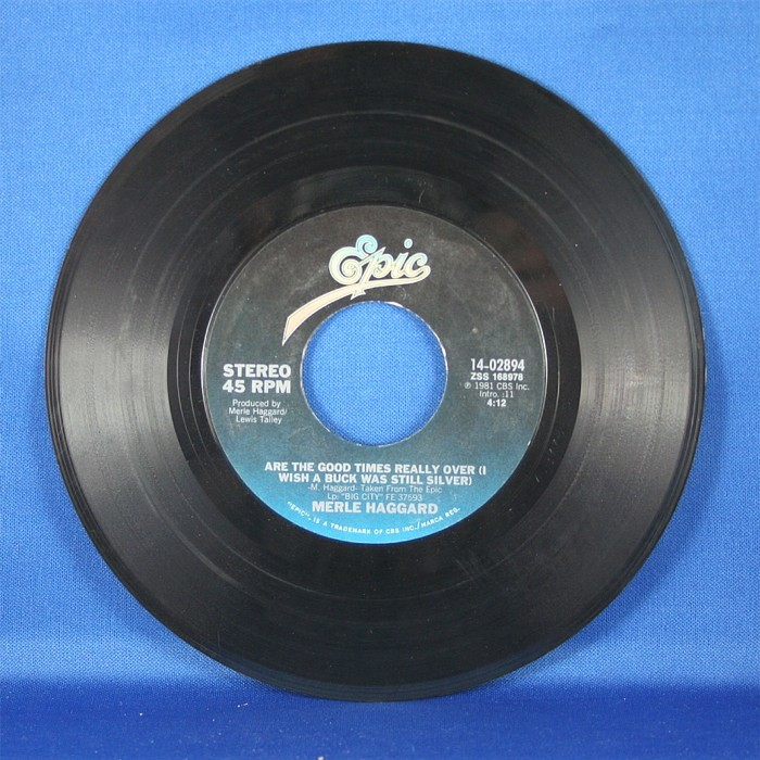 """Merle Haggard - 45 LP """"I Always Get Lucky With You"""" & """"Are the Good Times Really Over"""""""