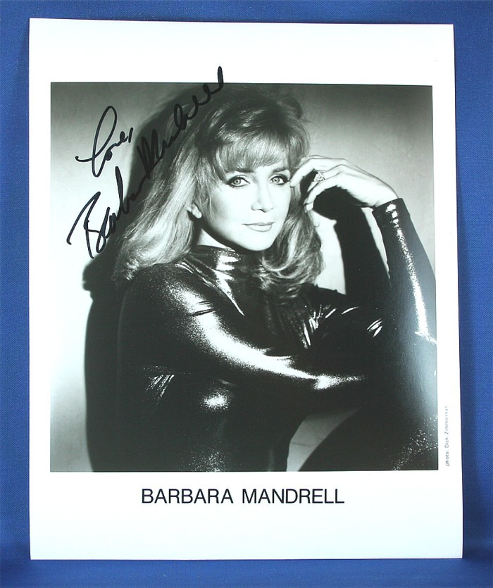Barbara Mandrell - autographed 8x10 black & white silver jump suit