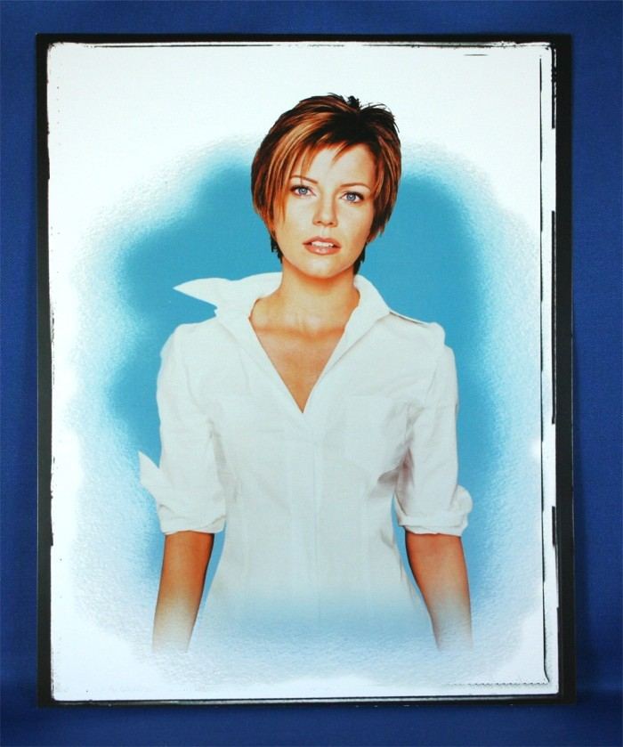 Martina McBride - 8x10 color photograph w/ white shirt on blue backdrop