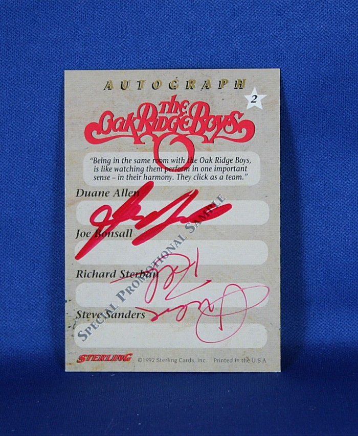 Oak Ridge Boys - autographed Country Gold promo trading card #2