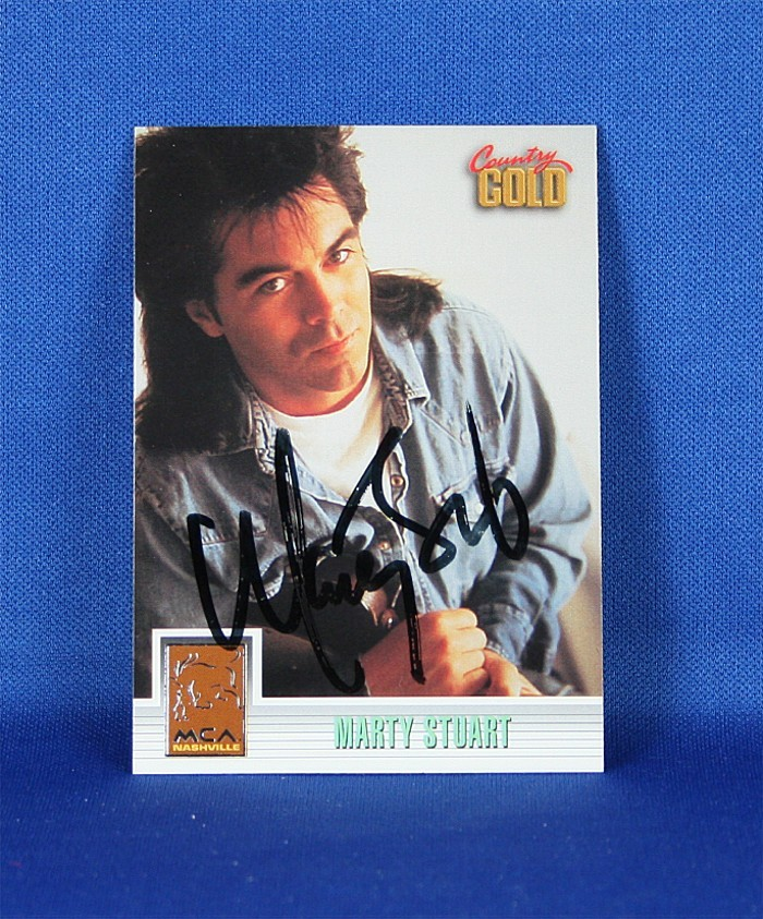 Marty Stuart - autographed 1993 Country Gold - sterling silver trading card #4