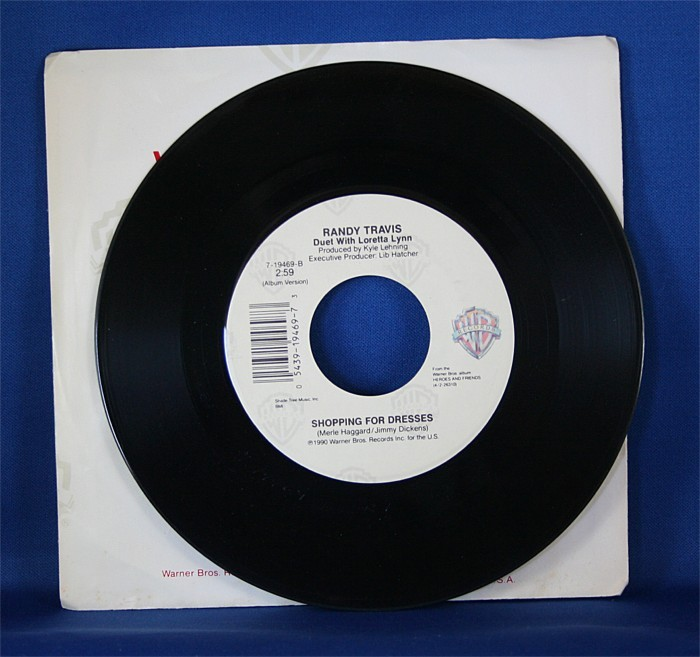 """Randy Travis - 45 LP """"Heroes And Friends"""" & """"Shopping For Dresses"""" with Loretta Lynn"""