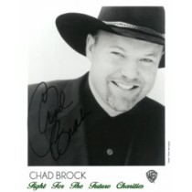 FFF Charities - Chad Brock - autographed black & white photo #1