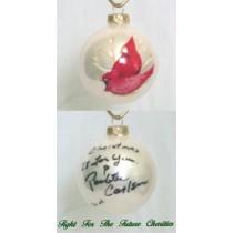 FFF Charities - Paulette Carlson - white Cardinal Christmas ornament #1