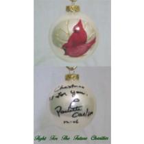 FFF Charities - Paulette Carlson - white Cardinal Christmas ornament #3