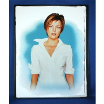 Martina McBride - 8x10 color photograph w/ white shirt on blue backdrop