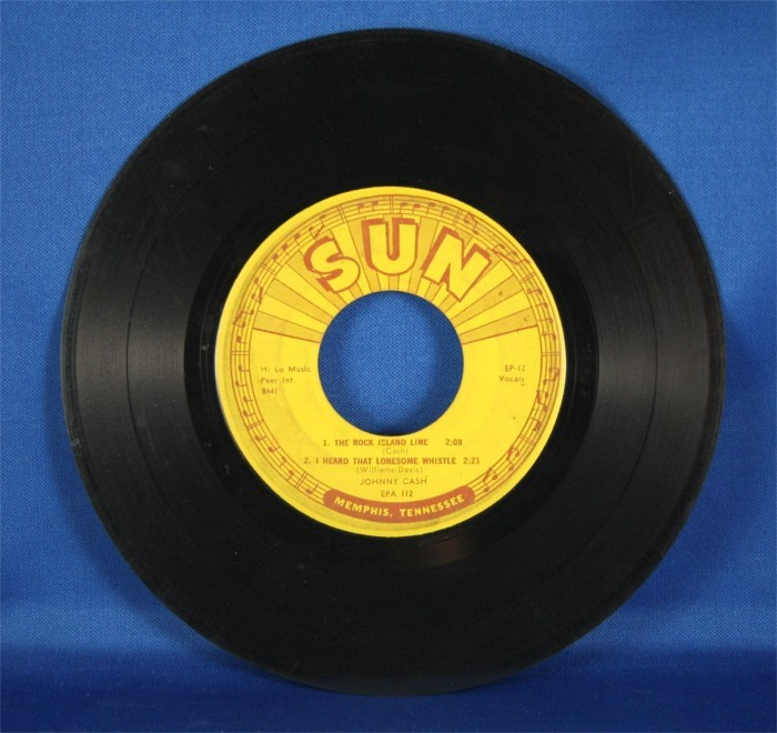 """Johnny Cash - 45 LP Sun Records """"The Rock,"""" """"I Heard That Lonesome Whistle,"""" and more"""