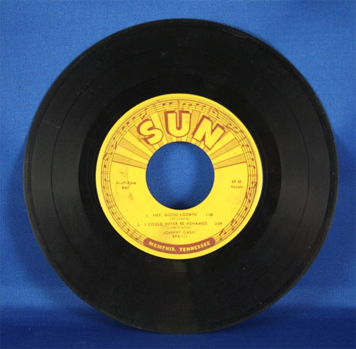 """Johnny Cash - 45 LP Sun Records """"Hey, Good Lookin',"""" """"I Could Never Be Ashamed"""" and more"""
