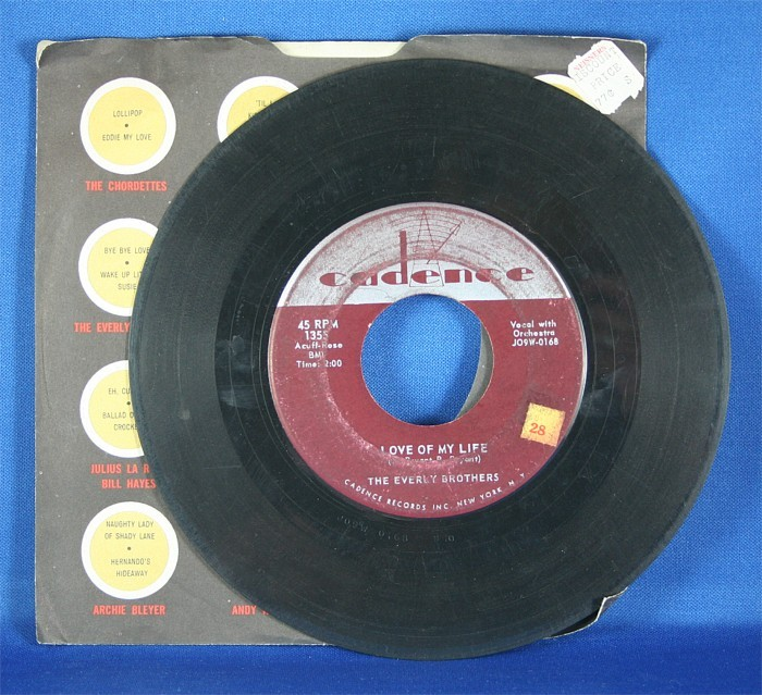 """Everly Brothers - 45 LP """"Love Of My Life"""" and """"Problems"""""""