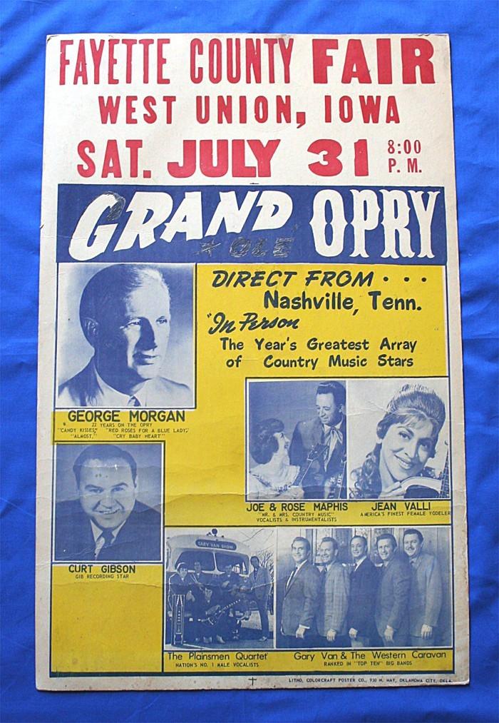 Grand Ole Opry - concert bill West Union, Iowa