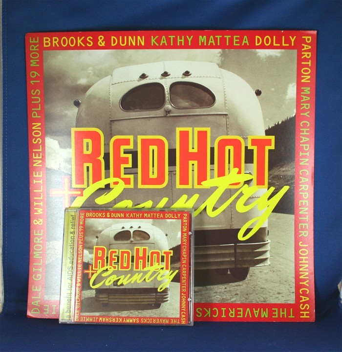 """Various Artists - promo flat """"Red Hot Country"""" w/ cd"""