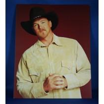 Trace Adkins - 8x10 color photograph w/ tan shirt on burgundy backdrop