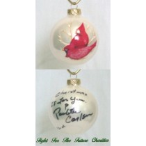 FFF Charities - Paulette Carlson - white Cardinal Christmas ornament #1