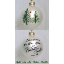 FFF Charities - Paulette Carlson - white evergreen Christmas ornament #1