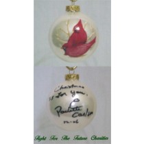 FFF Charities - Paulette Carlson - white Cardinal Christmas ornament #3