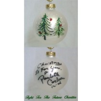 FFF Charities - Paulette Carlson - white evergreen Christmas ornament #3