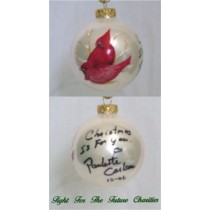 FFF Charities - Paulette Carlson - white Cardinal Christmas ornament #4